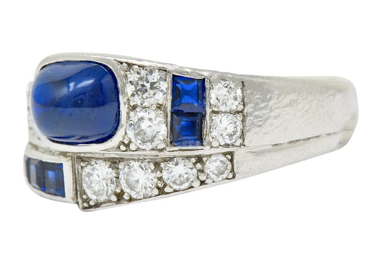 Women's or Men's Maurice Tishman Art Deco 2.72 Carat Sapphire Diamond Platinum Band Ring For Sale