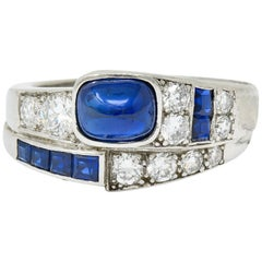 Maurice Tishman Art Deco 2.72 Carat Sapphire Diamond Platinum Band Ring