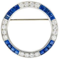 Maurice Tishman Vintage 5.15 Carat Sapphire Diamond Platinum Circle Brooch