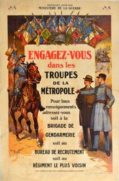 Original Vintage Poster Military Recruitment Troupes De La Metropole Army Troops