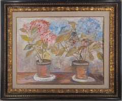 Pink and Blue Hydrangeas - Tall Original gouache painting, Signed - Cerificate