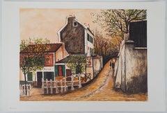 Paris : Street in Montmartre - Lithograph