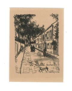 The Walk - Original Lithograph by Maurice Utrillo - 1927