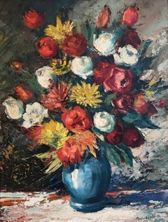Large Floral Bouquet Still Life of Flowers Impressionist oil