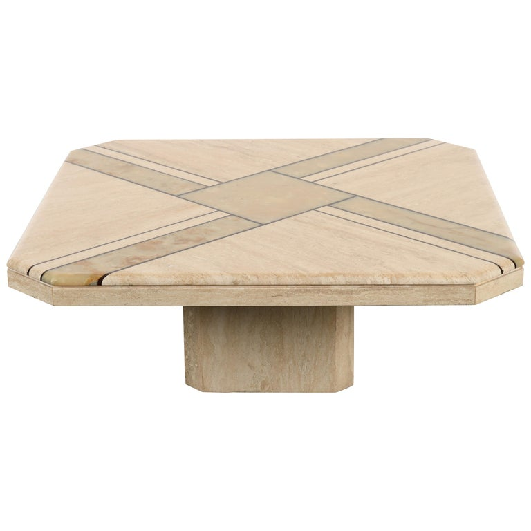 Maurice Villency Style Onyx And Travertine Marble Coffee Table