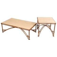 Maurice Villency Travertine Coffee Table And Side Table