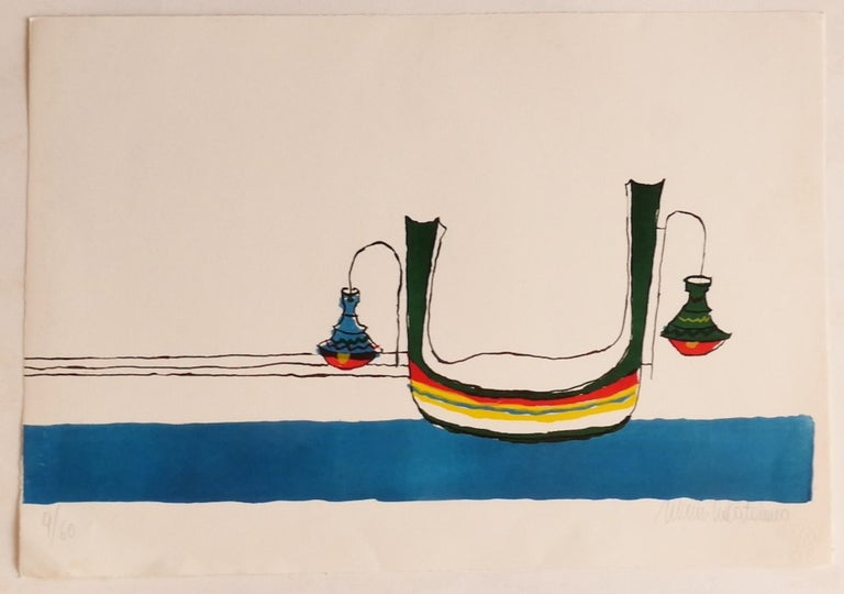 Gondola is an original lithograph artwork, realized by Maurilio Catalano.  Hand-signed, numbered edition of 9/60 prints.  The state of preservation is very good.  The artwork represents a brilliant composition through Boat shapes (Gondola) and
