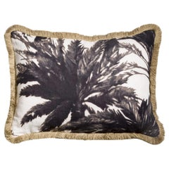 Mauritius Nuit Palm Natural Linen Grey and White Pillow/Cushion