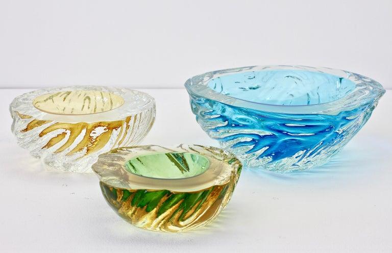 Maurizio Albarelli Attributed Italian Yellow & Green Textured Murano Glass Bowl For Sale 13