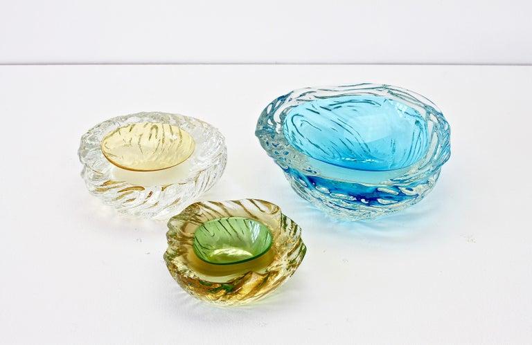 Maurizio Albarelli Attributed Italian Yellow & Green Textured Murano Glass Bowl For Sale 14