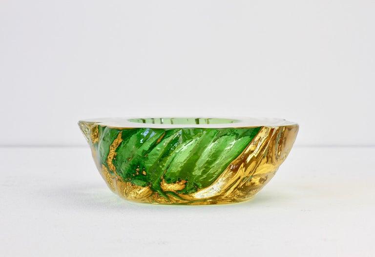 Blown Glass Maurizio Albarelli Attributed Italian Yellow & Green Textured Murano Glass Bowl For Sale