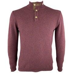 MAURIZIO BALDASSARI Size M Burgundy Solid Cashmere Buttoned Collar Pullover