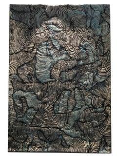 Garden, Mixed Media  Abstract Rectangular Tapestry Black White Blue 2012
