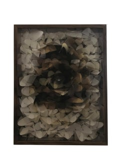 Mirror, Mixed Media Abstract Paper Flower Assemblage Under Lenticular Lens 2012