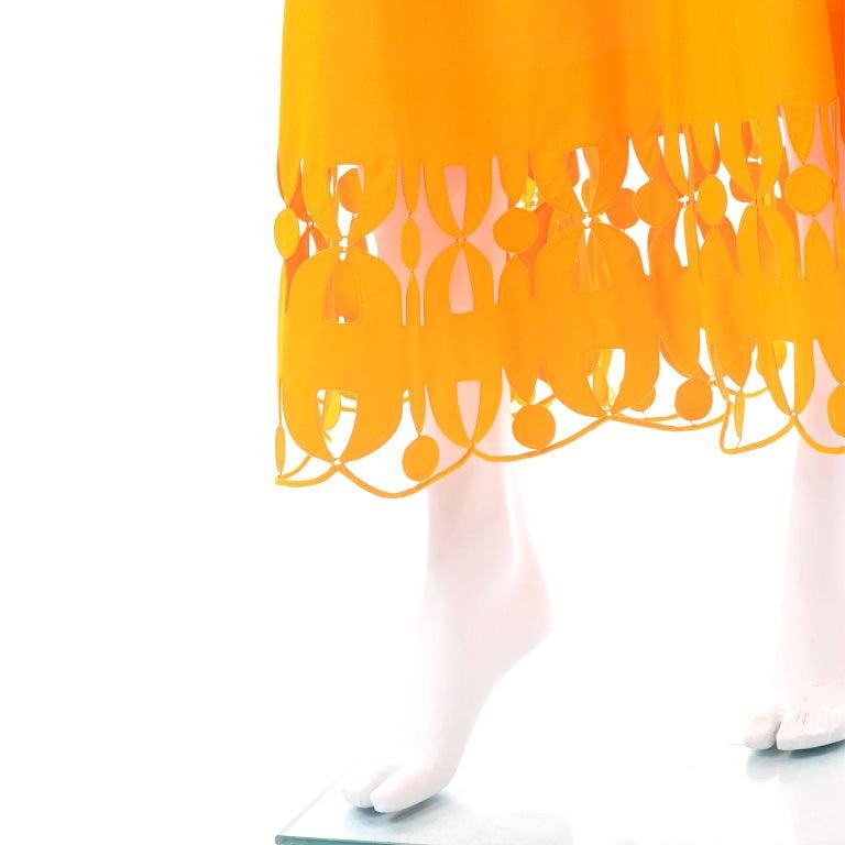 Maurizio Galante Marigold Yellow 1990s Cutwork Skirt & Crop Top 2Pc Dress For Sale 6