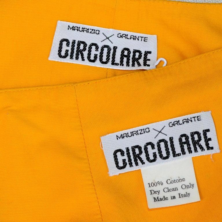 Maurizio Galante Marigold Yellow 1990s Cutwork Skirt & Crop Top 2Pc Dress For Sale 7