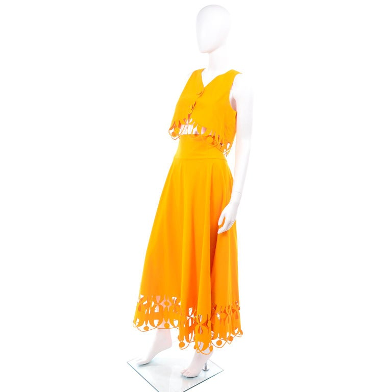 Maurizio Galante Marigold Yellow 1990s Cutwork Skirt & Crop Top 2Pc Dress In Excellent Condition For Sale In Portland, OR