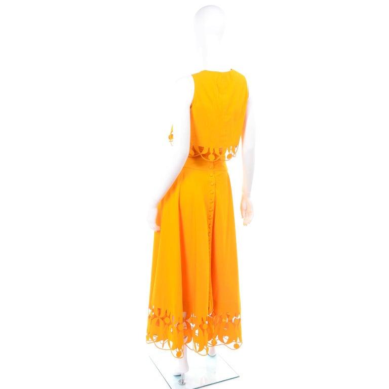 Women's Maurizio Galante Marigold Yellow 1990s Cutwork Skirt & Crop Top 2Pc Dress For Sale