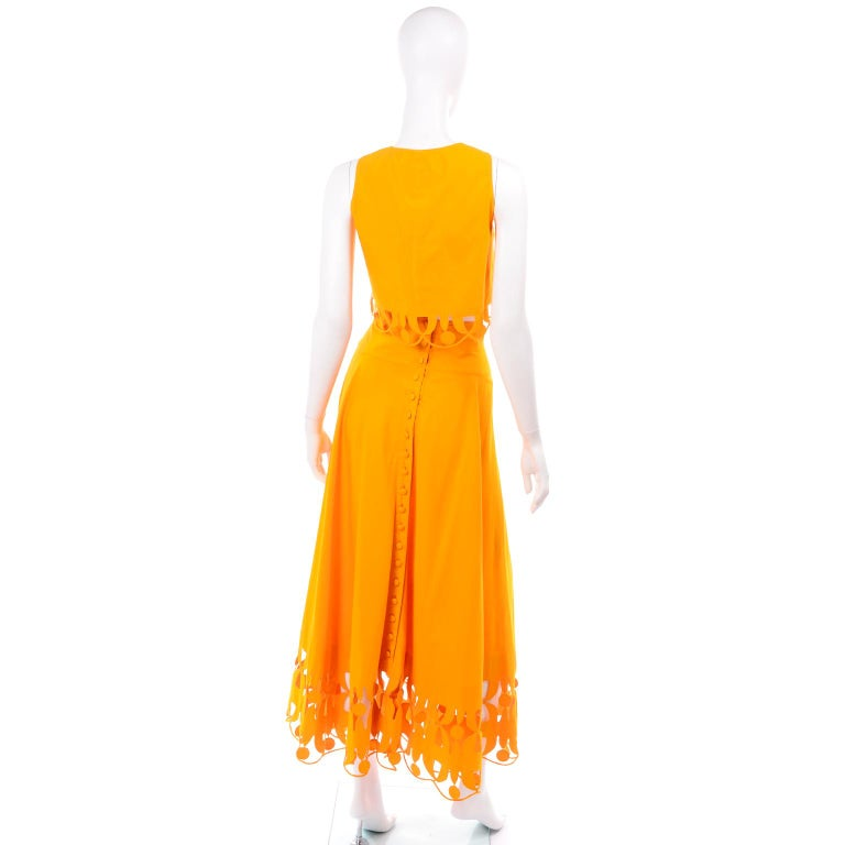 Maurizio Galante Marigold Yellow 1990s Cutwork Skirt & Crop Top 2Pc Dress For Sale 1