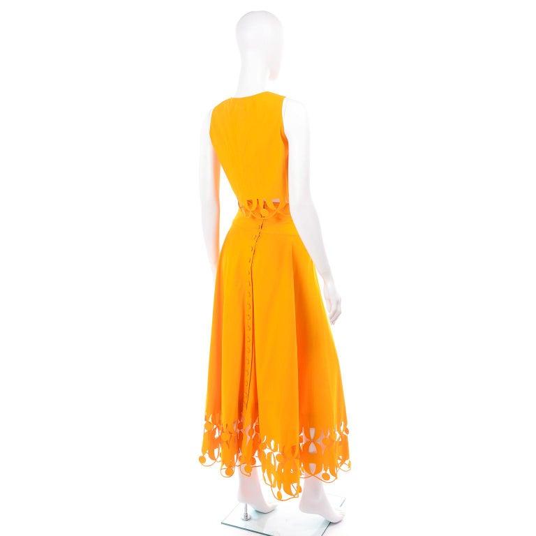 Maurizio Galante Marigold Yellow 1990s Cutwork Skirt & Crop Top 2Pc Dress For Sale 2