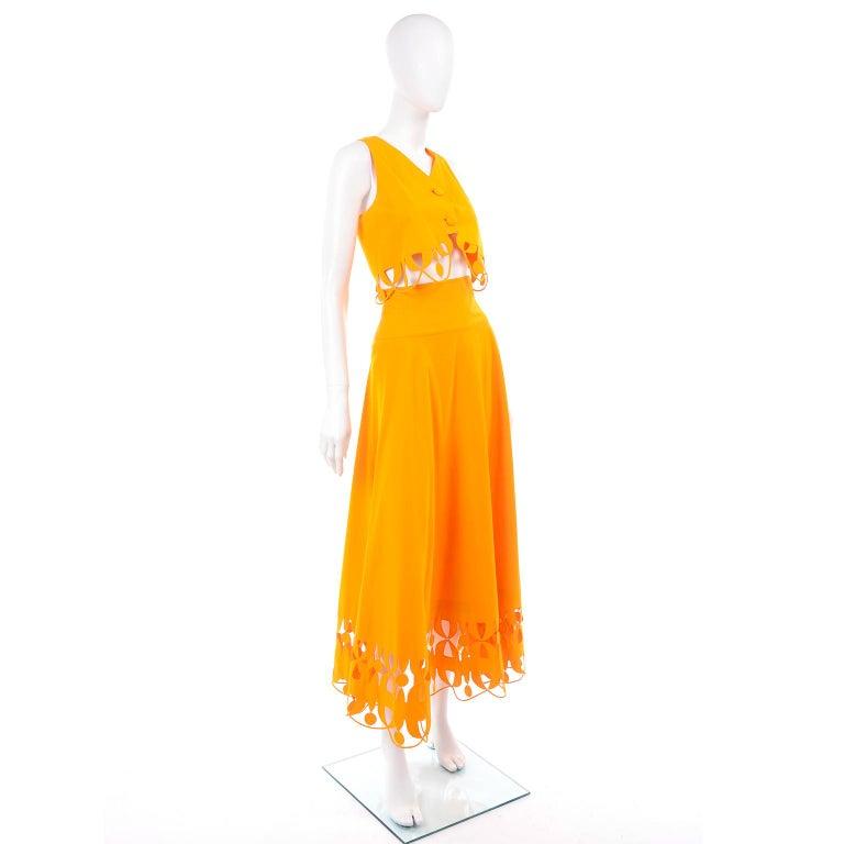 Maurizio Galante Marigold Yellow 1990s Cutwork Skirt & Crop Top 2Pc Dress For Sale 3