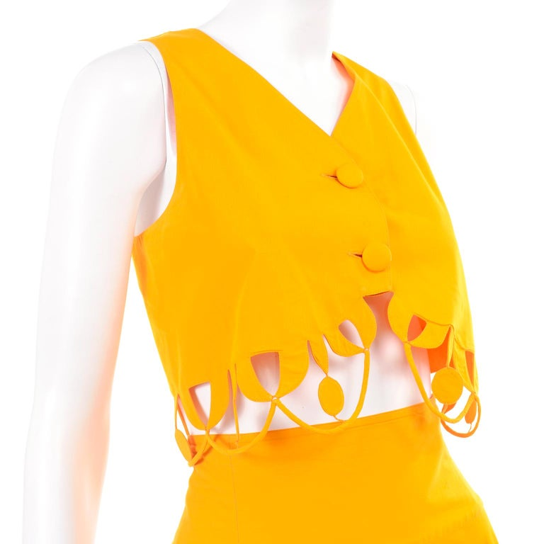 Maurizio Galante Marigold Yellow 1990s Cutwork Skirt & Crop Top 2Pc Dress For Sale 4
