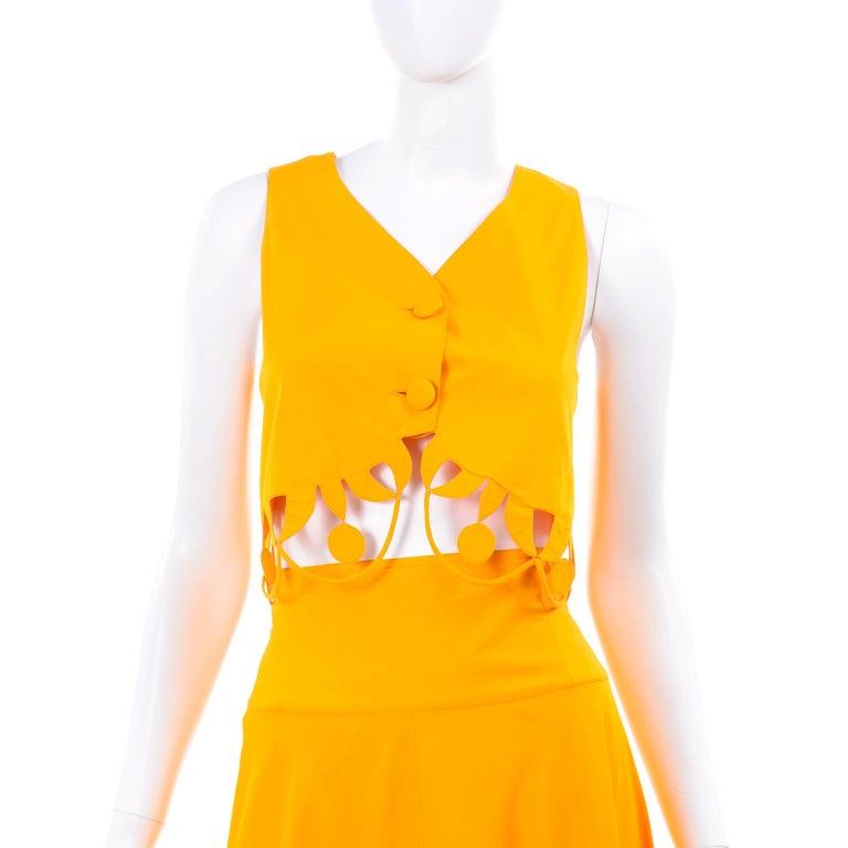 Maurizio Galante Marigold Yellow 1990s Cutwork Skirt & Crop Top 2Pc Dress For Sale 5