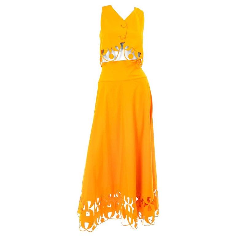 Maurizio Galante Marigold Yellow 1990s Cutwork Skirt & Crop Top 2Pc Dress For Sale