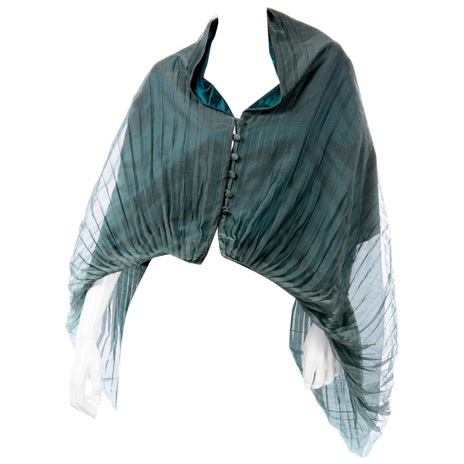 Maurizio Galante Vintage Green Silk Organza Pleated Cape Style Evening Top