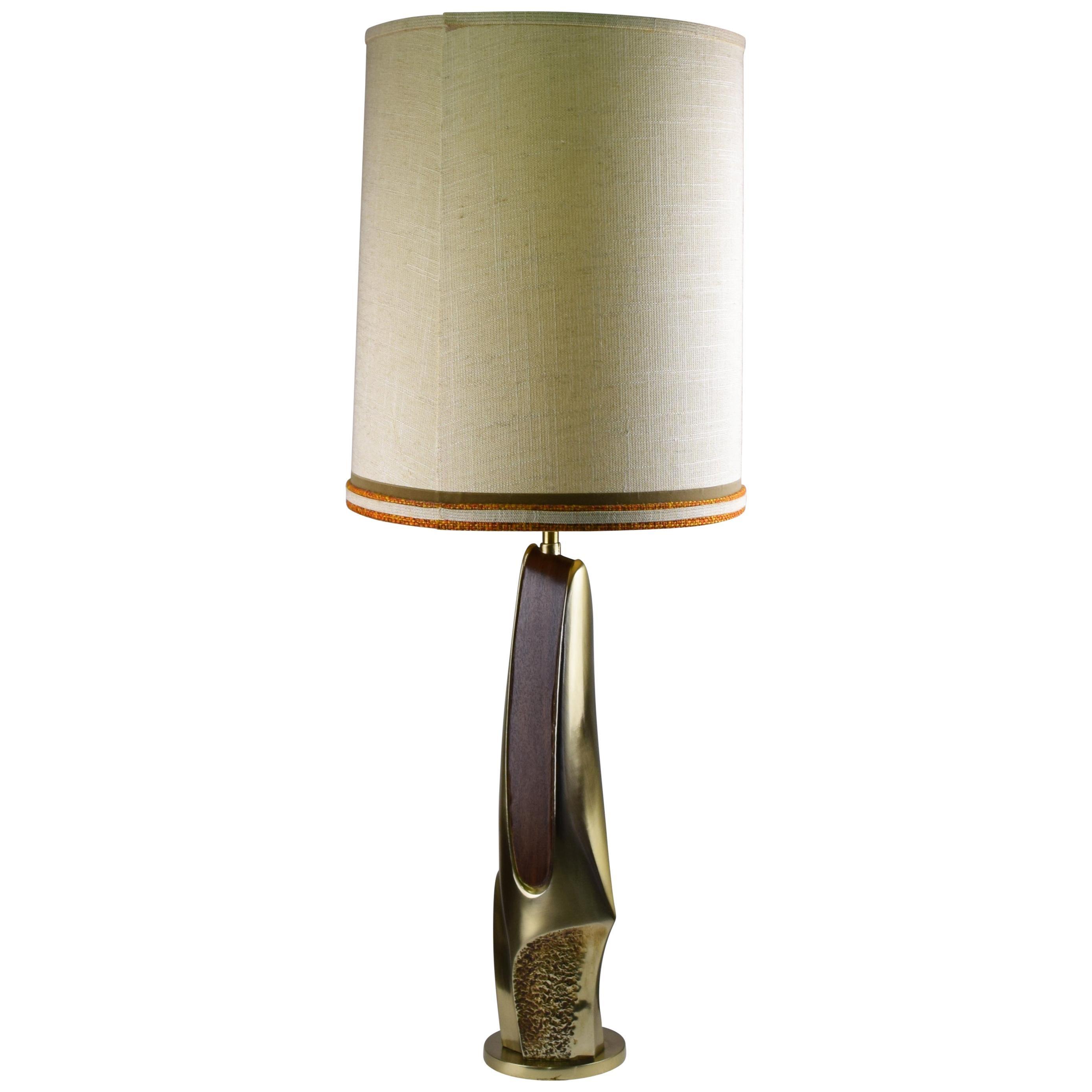 Sculptural Abstract Cast Brass Table Lamp Laurel Lighting