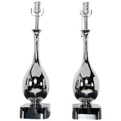 Maurizio Tempestini for Laurel Pair of Chrome Tear Drop Table Lamps
