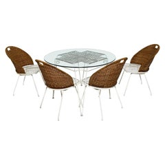 Maurizio Tempestini for Salterini Outdoor Table and Four Neva-Rust Dining Chairs
