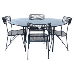 """Maurizio Tempestini for Salterini """"Ribbon Back"""" Oval Dining Table & Four Chairs"""