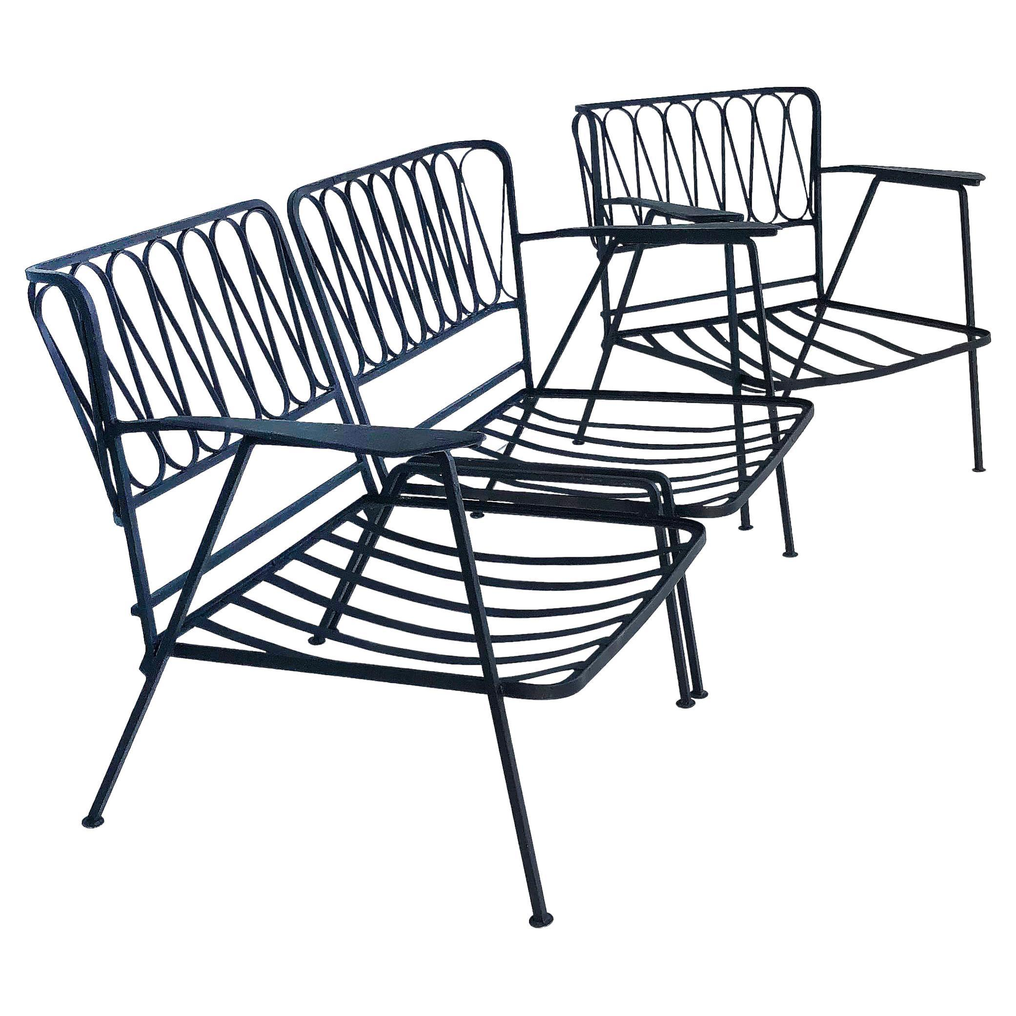 """Maurizio Tempestini for Salterini """"Ribbon Back"""" Two-Seat Settee and Club Chair"""