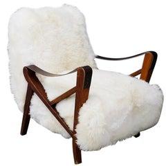 Maurizio Tempestini Rare Midcentury Armchairs in White Fur and Walnut, 1950s