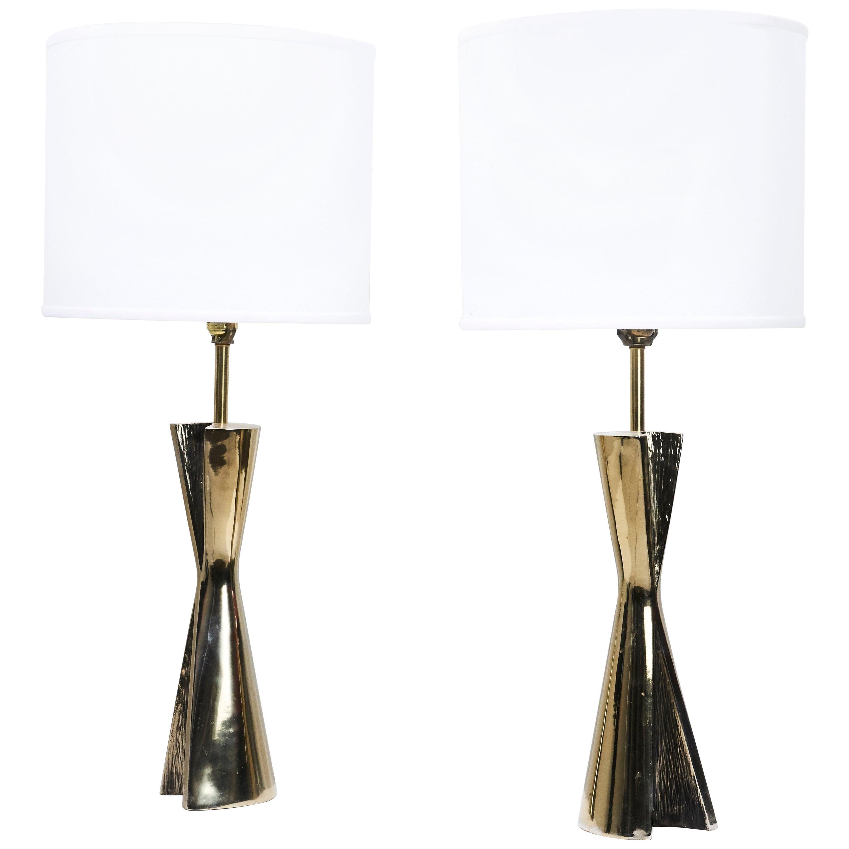 Sculptural Brass Table Lamps
