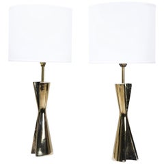 Sculptural Brass Table Lamps