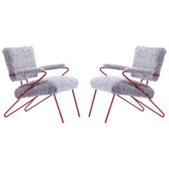 Maurizio Tempestini Style Red Iron and Shearling Lounge Chairs circa 1950, Pair