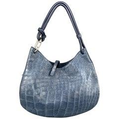 MAURO GOVERNA Blue Alligator Hobo Shoulder Bag