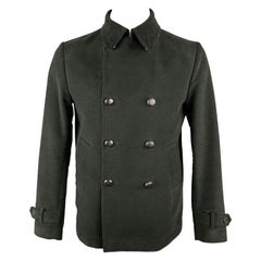 MAURO GRIFONI Size 40 Black Cotton Double Breasted Peacoat Jacket