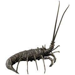 Mauro Manetti Pewter Lobster Sculpture, Italy, 1950s