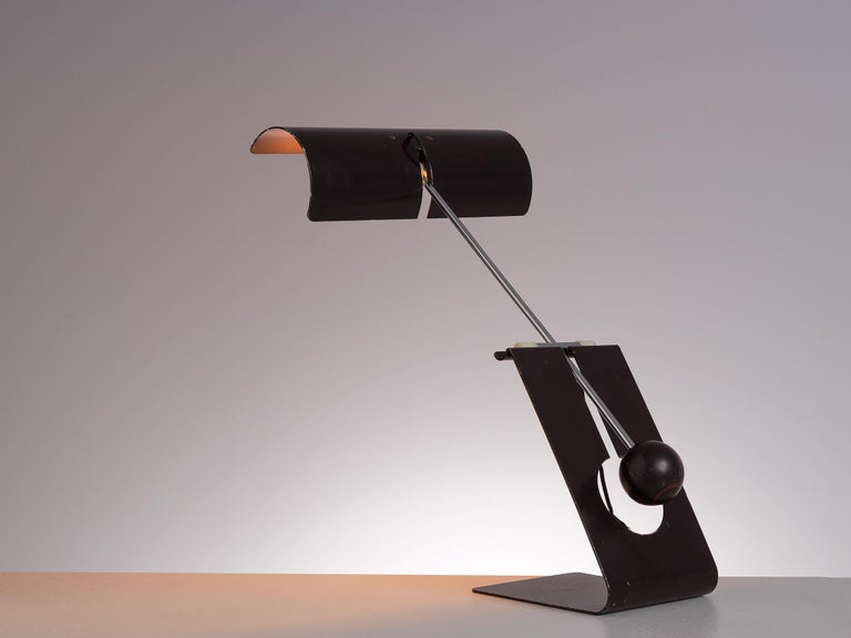 Mauro Martini for Fratelli, 'Picchio' table lamp, brown coated aluminium, Italy, 1960s.  This postmodern table lamp is designed by Mauro Martini for Fratelli. The name Picchio, meaning woodpecker in English, is taken from the shape of this lamp