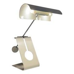 Mauro Martini Fratelli Martini Picchio Table Lamp Sheet Metal Chrome Italy 1960s