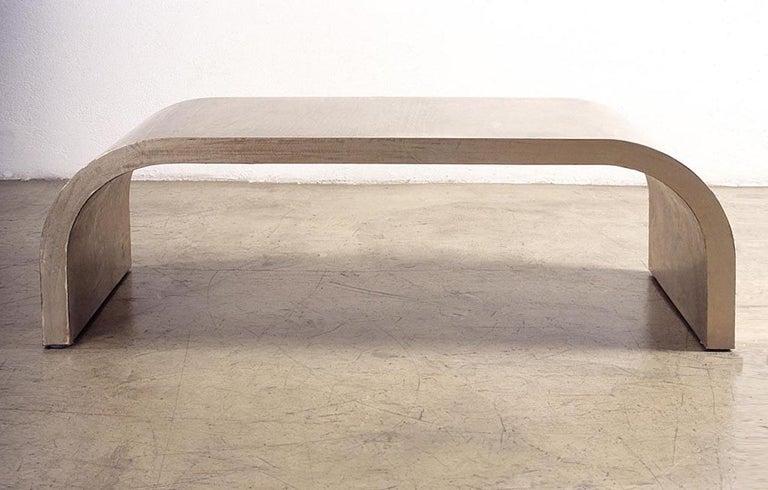 Italian Mauro Mori Dune Coffee Table in Alpacca Metal For Sale