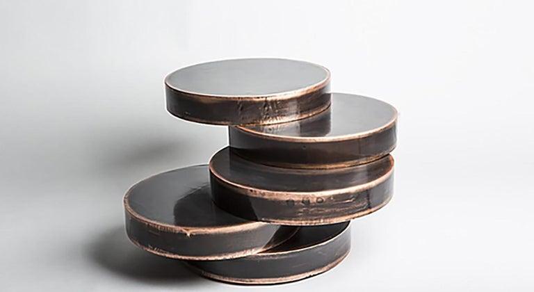 Italian Mauro Mori Movimento IV Basso Table in Fondente Copper For Sale