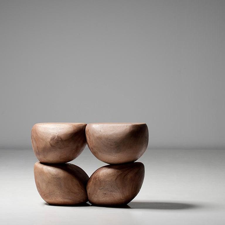 Modern Mauro Mori Quattor Table (Ed 9) Hand-Carved in Albizia Rosa Wood For Sale