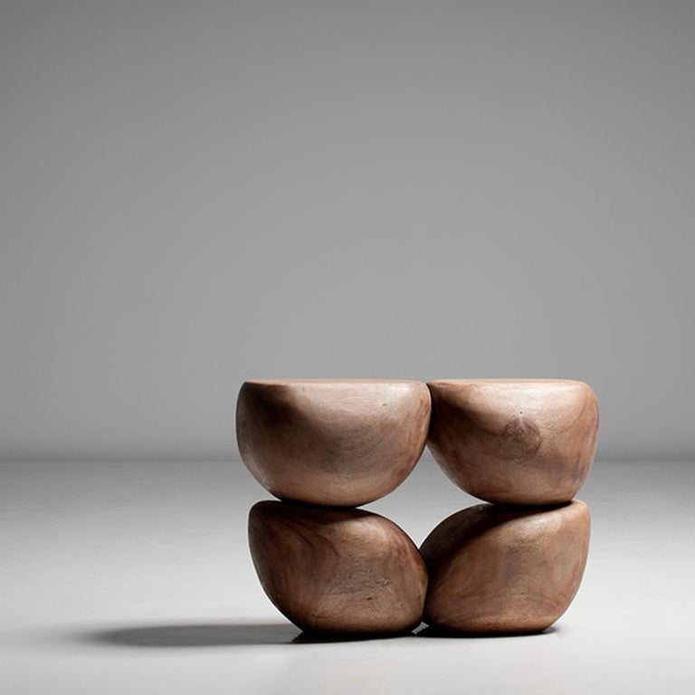 Italian Mauro Mori Quattor Table (Ed 9) Hand-Carved in Albizia Rosa Wood For Sale