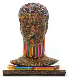 Fashionista I - Colorful Three-dimensional Mixed Media Sculpture