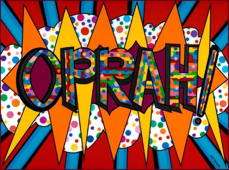 """This piece took over a month for the artist to complete: acrylic paint + automobile vinyl tapes on wood panel covered with resin. The colorful approach represents all the people Oprah has touched positively during her blessed life.  A """"Certificate"""