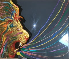 Colorful RAINBOW LION (Original Mixed Media Artwork)